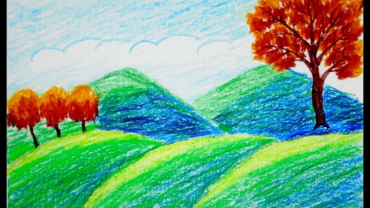 How To Draw Scenery Of Mountain Draw For Beginners Draw For Kids