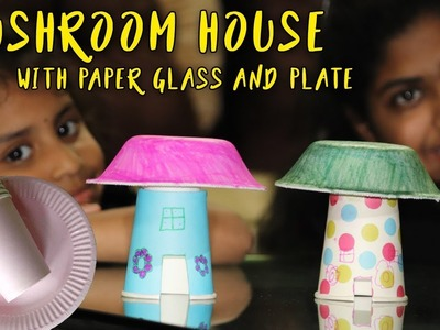 How to make a mushroom using paper plate and paper cup || Siddi The Multi