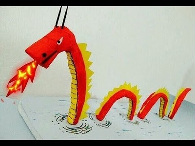 How to make a paper dragon. School project for kids