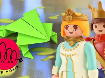 How to make a Paper Frog Origami for Kids with Playmobil Princess and Prince