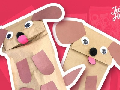 HOW TO MAKE A PUPPET  - DIY PAPER BAG DOG