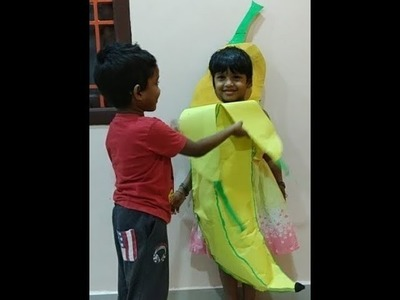 How to make banana in chart at home|banana fancy dress speech|how to make an easy banana costume|