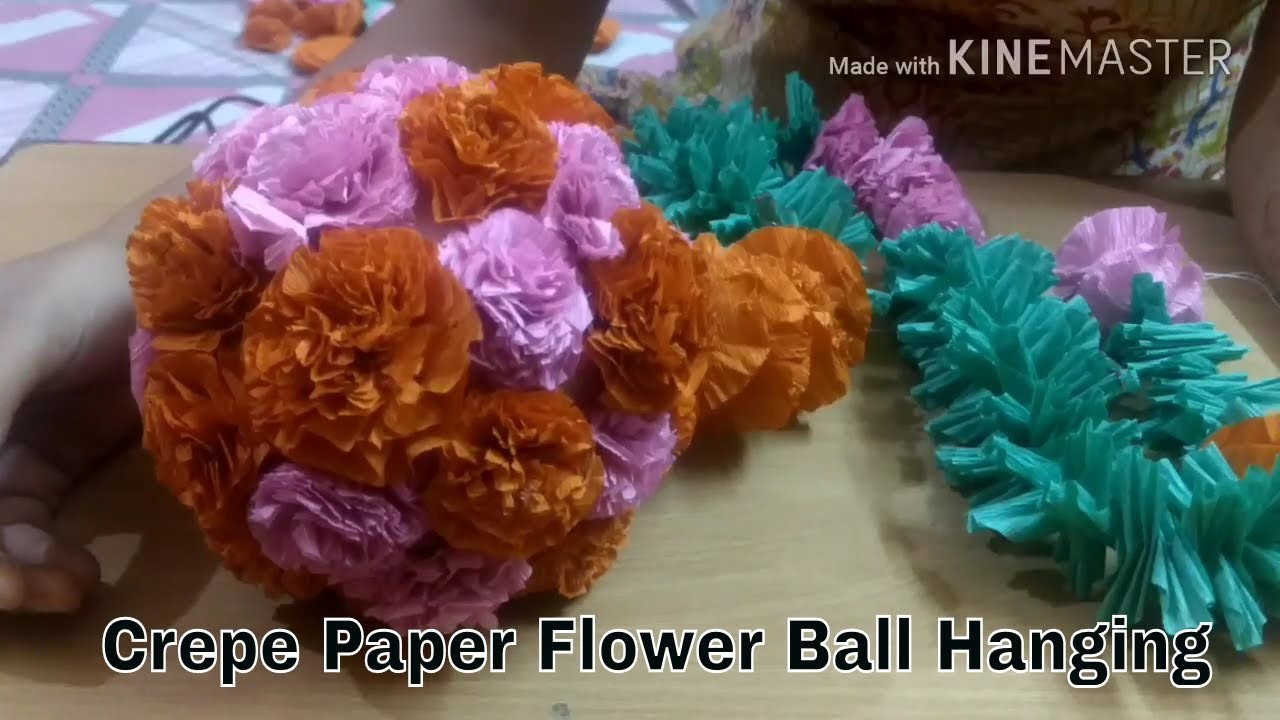 How To Make Crepe Paper Ball Wall Hanging For Decoration