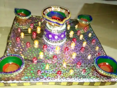 How to Make Designer Deepak Stand With Newspaper For Diwali Dly Home Decor