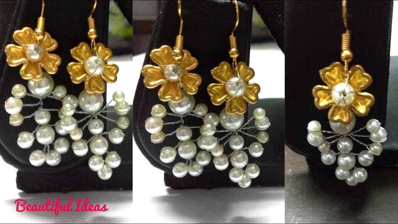 How to Make Latest Pearl Designer Earrings for Wedding Party.Designer Pearl Earrings.trendy Earrings