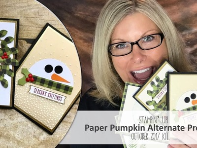 How to make Wreath Shaker & Snowman Cards featuring October 2017 Paper Pumpkin Stampin Up Kit