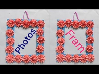 New Photos frame making from colour paper - how to make photos frame - DIY photos frame