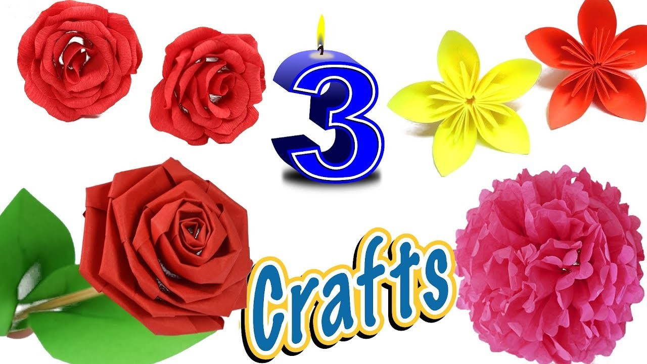Paper crafts 3 popular very easy simple paper flower crafts paper crafts 3 popular very easy simple paper flower crafts tutorial diy diy paper crafts mightylinksfo