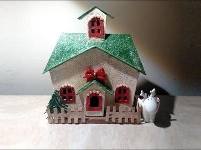 Decorating A Christmas Village House  - DIY