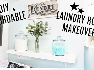 DIY Affordable Laundry Room Makeover- BEFORE & AFTER REMODEL