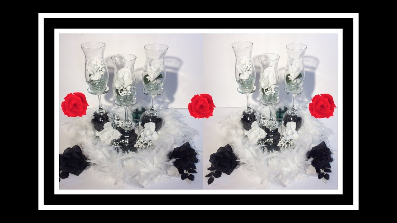DIY Black and White LIT Champagne Glass Centerpieces. Simply Easy #7