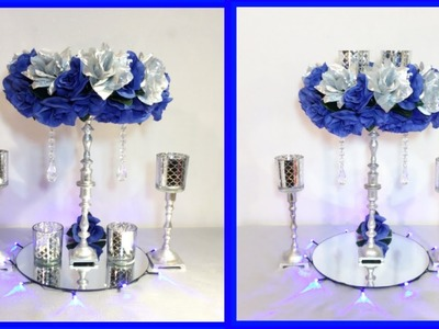 DIY BLUE AND SILVER GLAM FLOWER CENTERPIECE. Lighted Candle Holders. Simply Easy #9