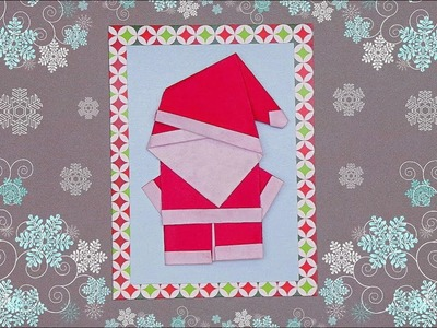 DIY CHRISTMAS CARD QUICK AND EASY - SANTA CLAUS ORIGAMI. HANDMADE CHRISTMAS CARD MAKING IDEA