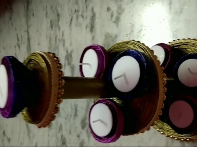 DIY diya stand with news papers for diwali decoration