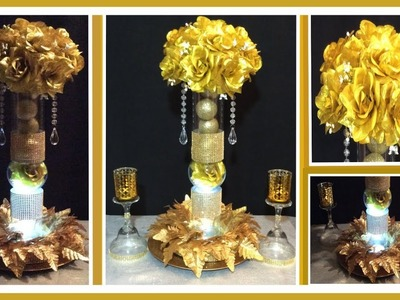 DIY Gold Lighted Centerpiece Simply.GLAM Floral Arrangement. Lit Candles.  Simply Easy #16