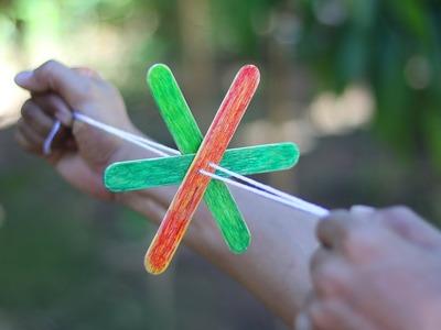 DIY Hand Pull Propeller Flashing Rope Flywheel Toys Glowing Rotating Kids
