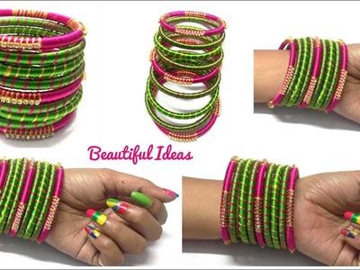 DIY.How to Make Silk thread Designer Bangles. Silk thread Bangles Making at Home.Bridal Bangles.