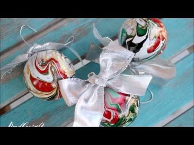 DIY How to Marble Christmas Ornaments #CreativeChristmas