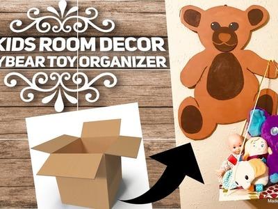 DIY Kids room wall  decor | Teddy bear toy organizer from Cardboard |