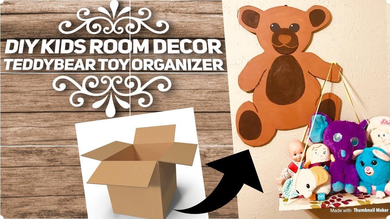 DIY Kids room wall  decor   Teddy bear toy organizer from Cardboard  