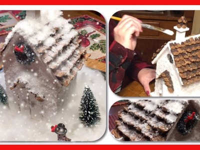 ~DIY~• Lighted, Glittering Alpine Christmas Cottage -Pinecone Roof•