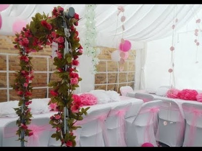 DIY Marquee Decorations Flower Arch, Frame Paper Flowers, Floral Pink Theme