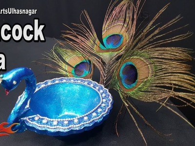 DIY Peacock Diya | Diwali Home Decoration Ideas | JK Arts 1294