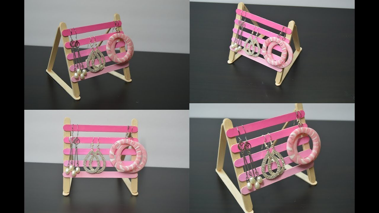 DIY Popsicle Stick Earring Holder | Popsicle Stick Crafts | Crafts And Kitchen