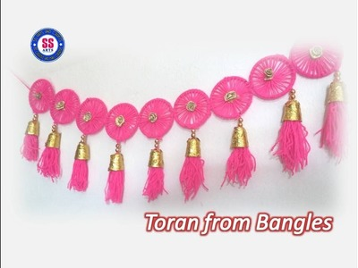 Diy. Toran from old waste Bangles.Plastic spoons Bandhanwar.wall decor.best out of the waste