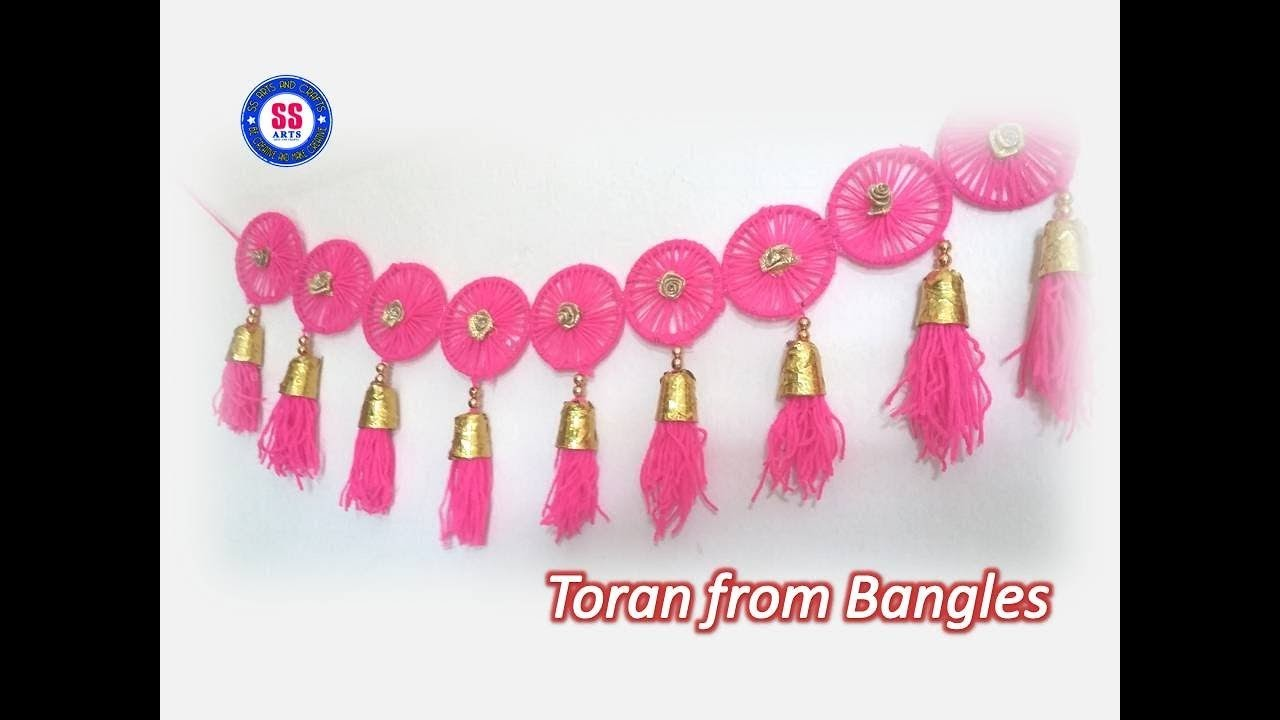 Diy toran from old waste bangles plastic spoons for Waste out of best from bangles