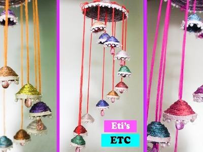 DIY Wind Chime || Wall hanging using News Paper || Room Decoration Idea || Eti's Etc