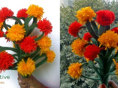 Easy and simple DIY flower bouquet from pom pom flower  and x-ray sheet