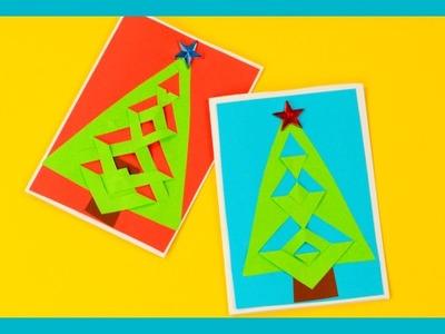 Festive Tree DIY Christmas Card for Kids