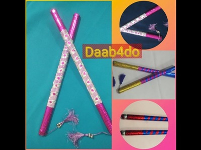 How to decorate dandiya sticks for kids|| Newspaper dandiya sticks|| DIY last minute dandiya||