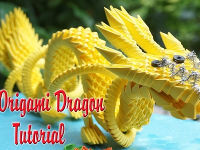 HOW TO MAKE 3D ORIGAMI CHINESE DRAGON   DIY PAPER DRAGON TUTORIAL