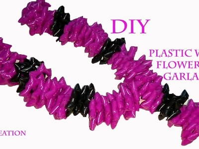 How to make plastic wire flower garland.diy WEAVING  garland