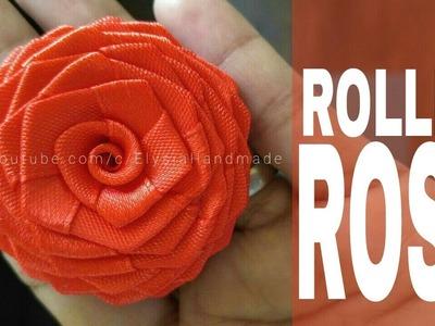 How To Make Ribbon Flower : Satin Ribbon Rose - Rolled Rose | DIY by Elysia Handmade