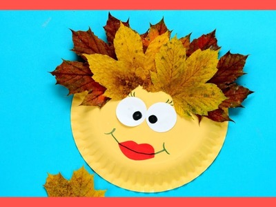 Leaf Face Paper Plate - Fall crafts for kids