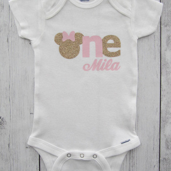 Minnie Mouse First Birthday Onesie in pink and gold- girl birthday, glitter, personalized