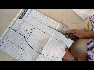 Princess cut blouse(36) drafting and cutting  Princess cut blouse paper cutting