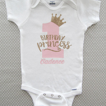 Princess First Birthday Onesie - gold glitter one, pink and gold, crown