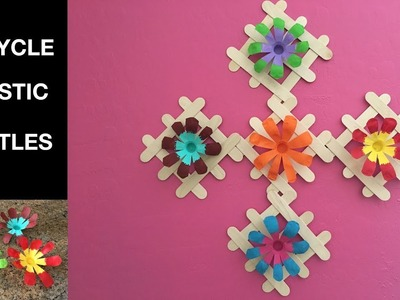 Recycle : Plastic Water Bottle Flowers with Popsicle sticks Decor.Easy DIY