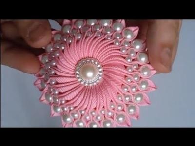 রিবনের ফুল.ribon flower.DIY RIBON FLOWERS