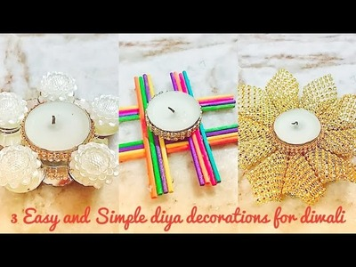 3 Easy and Simple diya decorations # Diwali decorations # room decor idea # Diy Diya for diwali