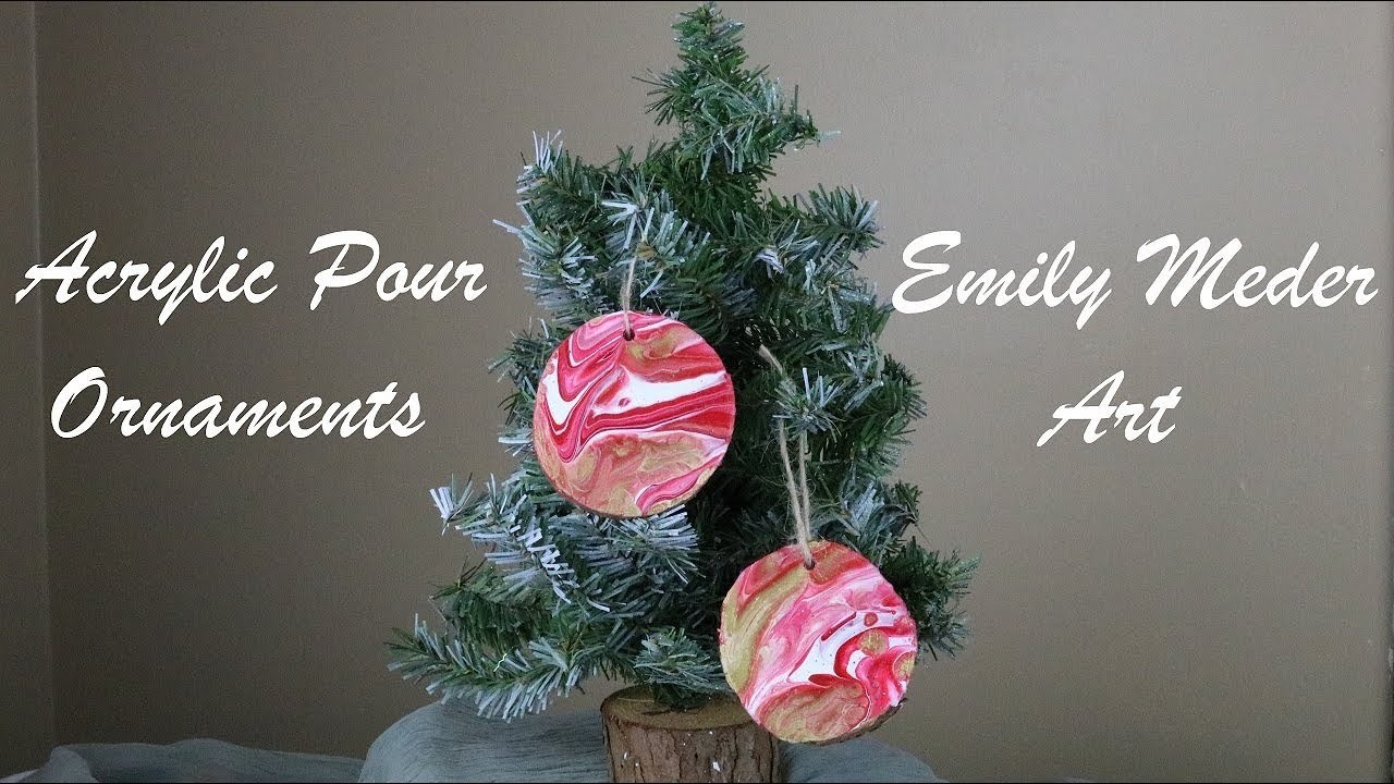 Acrylic Pour Ornaments, DIY Christmas Painted Wood Ornaments. Red, White, and Gold