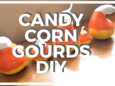 Candy Corn Gourds ♥ DIY Halloween Décor