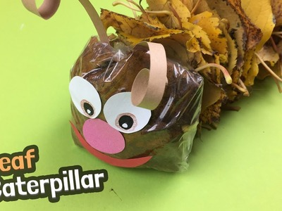 Caterpillar made of leaves, great for autumn DIY with kids
