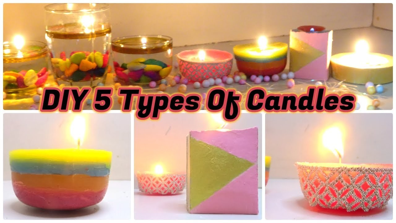DIY 5 Diwali Candles || How to make Candle for diwali || Candle Making