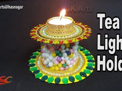 DIY Candle holder using Plastic bottle and DVD | Diwali Room Decor Ideas | JK Arts 1293