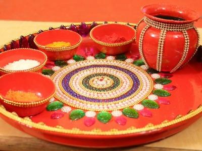 DIY Decorative Aarti Pooja Thali for DIWALI at Home step by step   shagun ki thali ideas